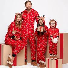 deer pattern hoodie top and family matching pajamas set