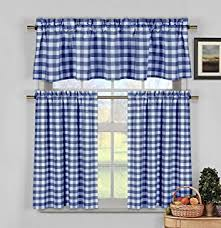 Designer Kitchen Curtains Amazon Com Navy Blue White Kitchen Curtains Gingham Checkered