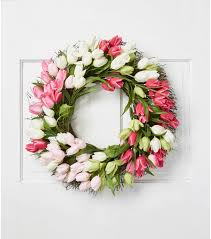 tulip wreath fresh picked 22 tulip wreath pink green joann