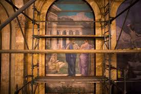 how conservators are saving a historic mural at the boston public two robed figures have a conversation in the philosophy mural by 19th century french muralist