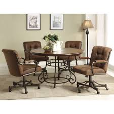 Upholstered Dining Room Chairs With Casters by Brown Leather Chairs With Back And Arm Rest Combined With Dark