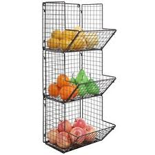 wall fruit basket wall mount rack fruit basket holder storage metal wire 3 tier bin