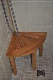 unique wood diy shower bench with little tile floor closed small