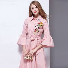 designer casual dress 2017 new summer flare sleeve embroidery pink