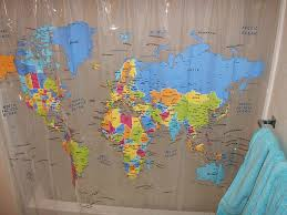 Shower Curtain Map World Map Shower Curtain And Decorate Bahtroom U2014 Bitdigest Design