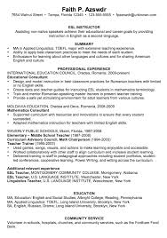 Relevant Experience Resume Examples by Resume Example For An Esl Instructor Susan Ireland Resumes