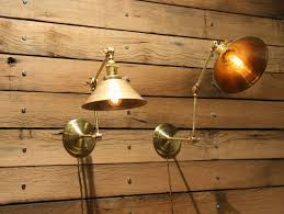 Brass Wall Sconce Hand Made Brass Wall Sconce Industrial Articulating Wall Lamp By