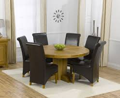 round table with 6 chairs zenia oak 150cm round dining table amp 6 palermo leather chairs
