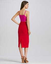 mara hoffman cutout colorblock dress magenta red