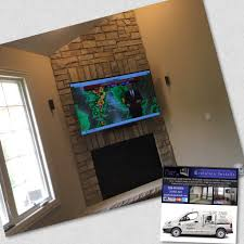 tv installation on stone over fireplace u2013 evolution installs
