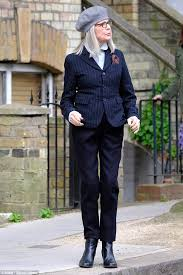 diane keaton cuts a chic figure as she resumes filming in north