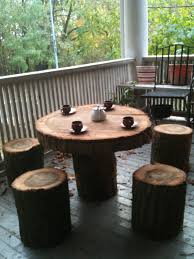 furniture tree stump round outdoor coffee table with four tree