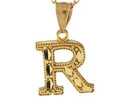 real yellow gold 1 29cm diamond cut letter r cute charm pendant