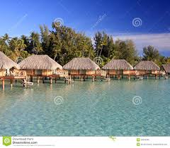 over water bungalows in bora bora royalty free stock image image