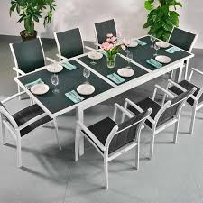 extension dining table and chairs dining table set florence white grey 8 person aluminium glass