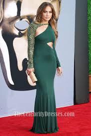 jennifer lopez green long sleeve formal dress bafta 2011 red