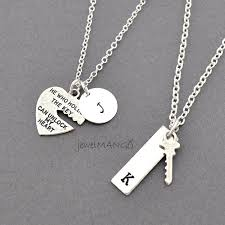 heart couple necklace images Key to my heart couple necklace mr mrs hand by jewelmango on etsy jpg