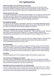 fair fighting rules worksheet therapist aid