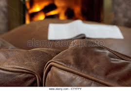 Soft Leather Sofa Brown Leather Sofa Fireplace Stock Photos Brown Leather Sofa
