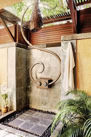 outside bathroom ideas beautiful tropical outdoor shower stone tile floor palm tree metal