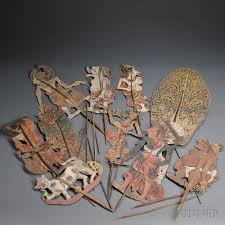 shadow puppets for sale ten shadow puppets wayang kulit sale number 2647b lot number 11