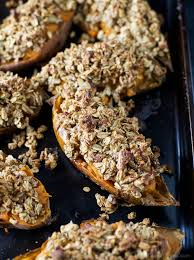 baked sweet potatoes with oatmeal pecan streusel easy