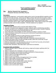 Machine Operator Resume Examples by Sample Machinist Resume Job Description Sample Machinist Resume