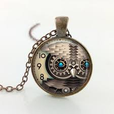 steampunk owl necklace images Steampunk owl pendant necklace 4 owl variants each with 4 color jpg