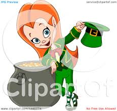 clipart of a cartoon st patricks day red haired leprechaun