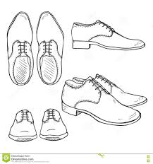 vector set of sketch classic men shoes top side and front view