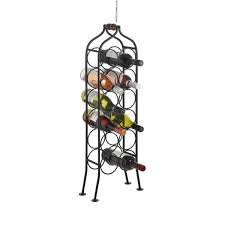 12 bottle wrought iron standing black wine rack holder with handle