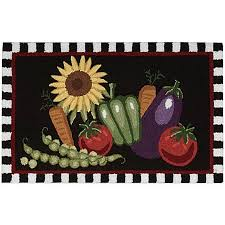 Nourison Kitchen Rugs Nourison Vegetables 33 Inch X 20 Inch Kitchen Rug In Black Bed