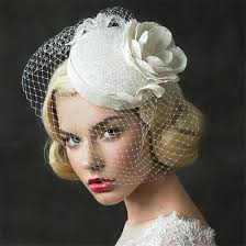 prom hair accessories wedding bridal ivory pillbox hat cap flower headpieces veil