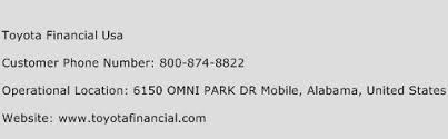 toyota financial usa customer service phone number contact