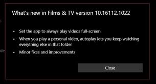 microsoft movies u0026 tv app updated in the fast ring with autoplay