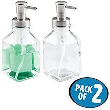 amazon soap dispenser kitchen sink amazon com mdesign square foaming glass soap dispenser pumps for