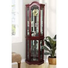 how to arrange a corner china cabinet floor standing cherry 5 sided lighted curio cabinet