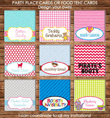 Design Your Own Place Cards Party Food Tent Cards Or Place Cards Made To Match Any Of My