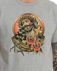 jesus tattoo t shirt for men personalized gray t shirts tshirtxy com