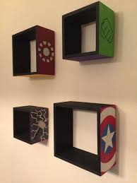 Diy Superhero Room Decor Avengers Wooden Floating Shelves Diy Bedroom Projects For Men 11
