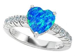 blue opal engagement rings k 8mm shape simulated blue opal engagement ring size 5