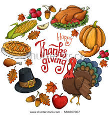 frame colorful thanksgiving icons vector stock vector