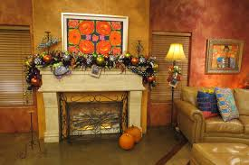 black halloween mantle decorations with big spider display mixed