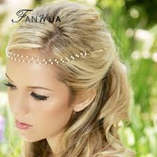 boho hair accessories new wedding hair jewelry designer simulated pearl chain barrette