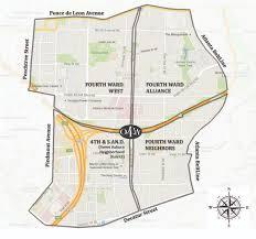 Atlanta Neighborhood Map by Neighborhood Associations Old Fourth Ward Business Association