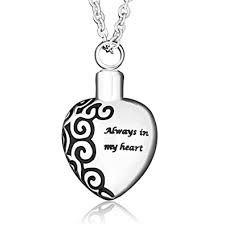 necklace to put ashes in 925 sterling silver always in my heart necklace urn pendant