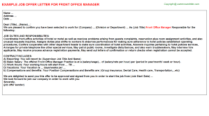 front office manager offer letter