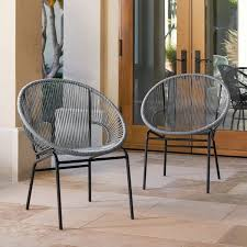 Overstock Patio Chairs Sarcelles Woven Wicker Patio Chairs By Corvus Set Of 2 Free