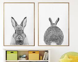 rabbit poster rabbit poster etsy