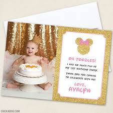 gold minnie mouse party photo thank you cards